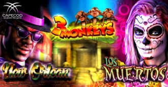 3 MONKEYS - LOS MUERTOS - NEW ORLEAN - Capecod Gaming launches 3 new Slots!